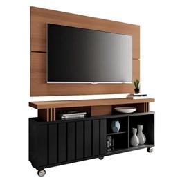 """Rack Bancada com Painel Boss 1.3 para TV de até 50"""" Preto/Nature - PR Móveis"""