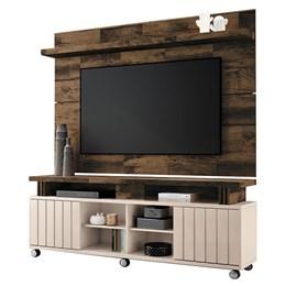 """Rack Bancada com Painel Boss 1.8 para TV de até 70"""" Off White/Deck - PR Móveis"""
