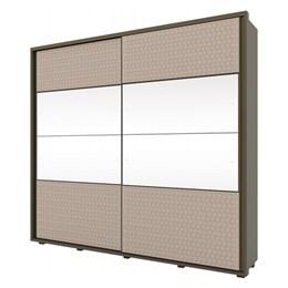 Roupeiro Platinum 2 Portas Desliz Damasco HP/Cristal/Tecido Bege - Móveis Henn