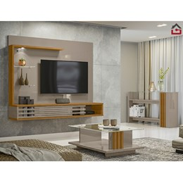 Sala Completa Bancada Suspensa, Aparador e Mesa de Centro Wild Select Fendi/Naturale - PR Móveis