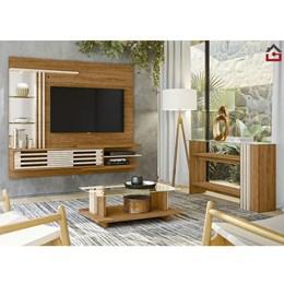 Sala Completa Bancada Suspensa, Aparador e Mesa de Centro Wild Supreme Naturale/Off White -PR Móveis