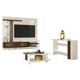 Sala Completa Bancada Suspensa, Aparador e Mesa de Centro Wild Supreme Off White/Savana - PR Móveis