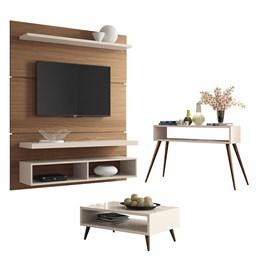 Sala de Estar com Home Suspenso, Mesa de Centro e Aparador Retrô Nature/Off White - PR Móveis