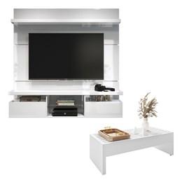 Sala de Estar Completa Classic 1.6 com Home Suspenso e Mesa de Centro Branco - PR Móveis