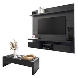 Sala de Estar Completa Classic 1.8 com Home Suspenso e Mesa de Centro Preto - PR Móveis