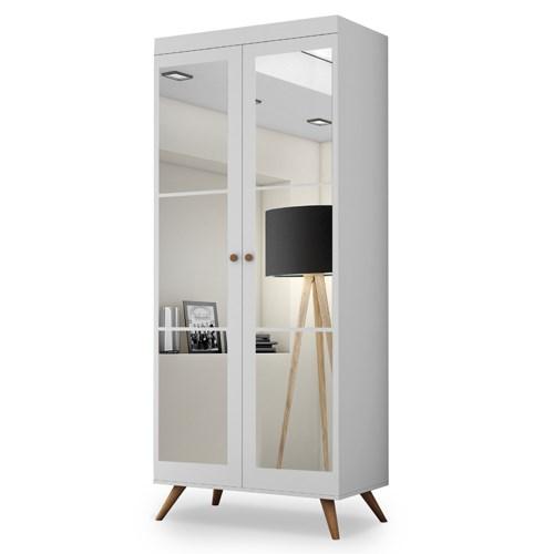 Sapateira Athenas com Espelho Branco/Hannover - Potente Móveis